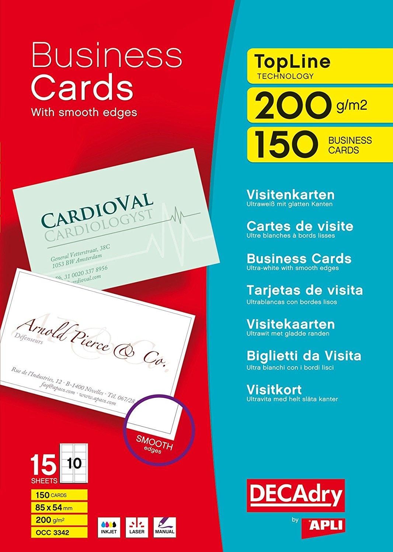 Decadry topline white straight corner business cards pk150 colourmoves