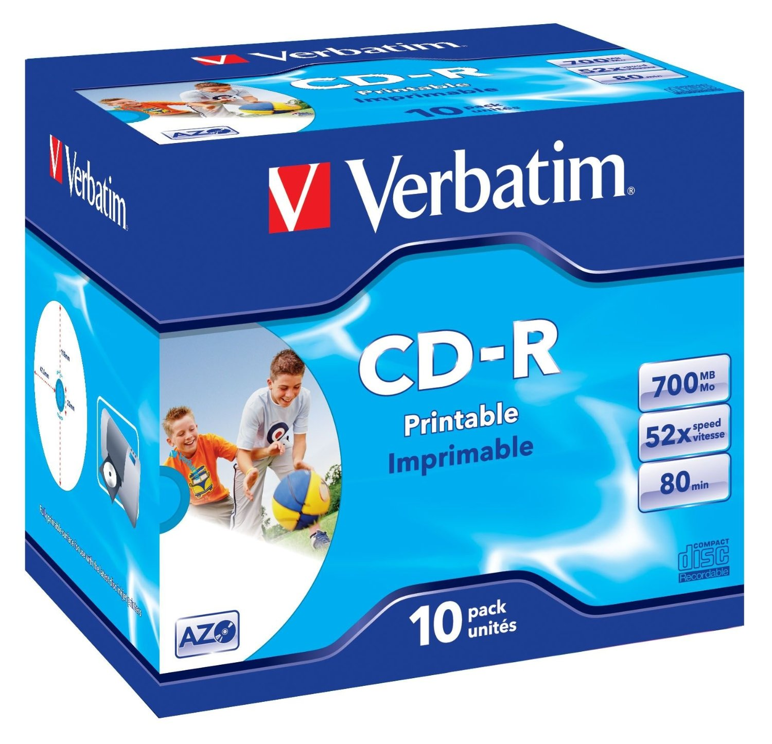 graphic regarding Verbatim Cd R Printable named Verbatim CDR Printable 80Min 52X Box Of 10