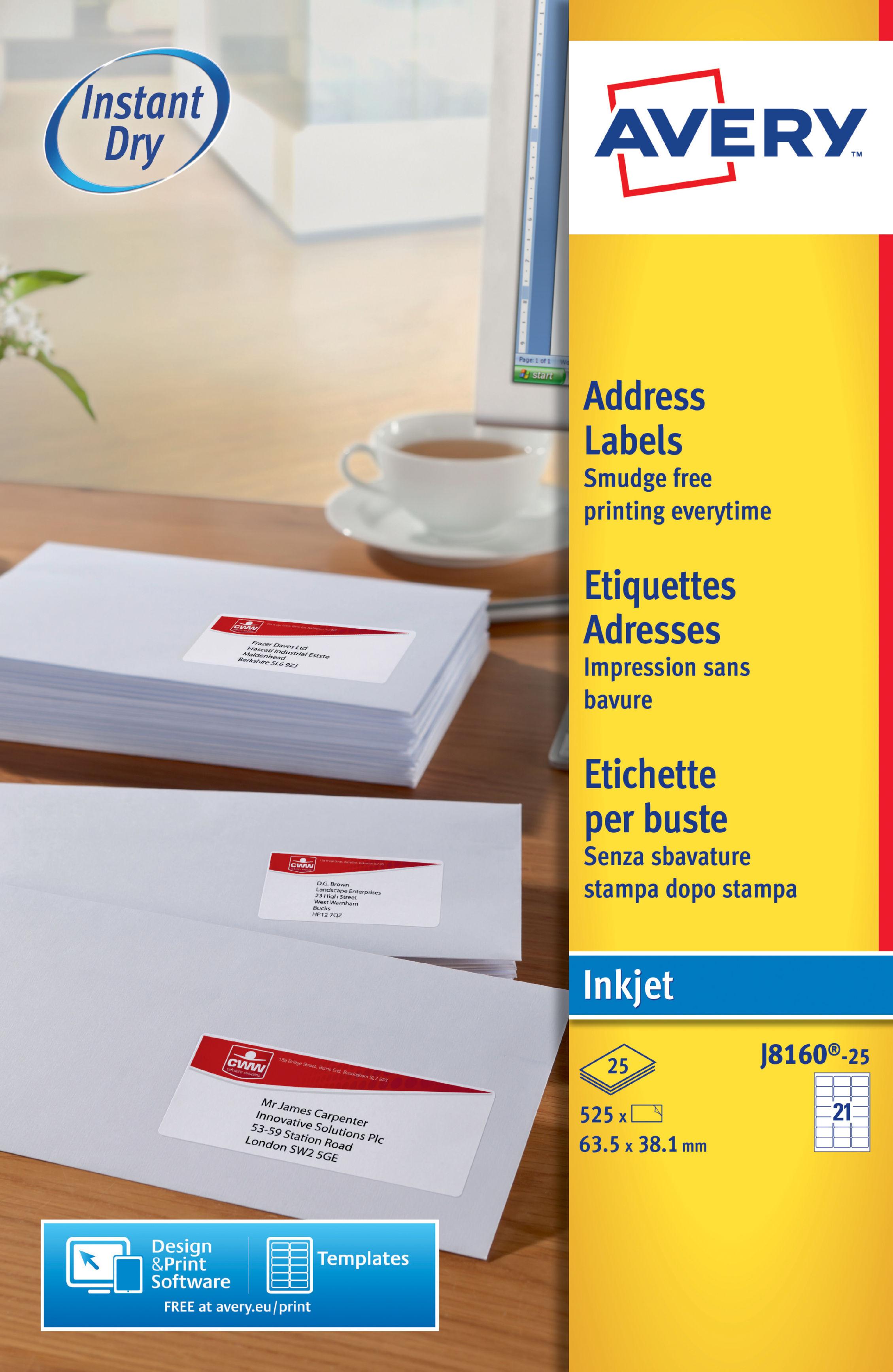 avery inkjet address labels 63 5x38 1mm j8160 25 525labels
