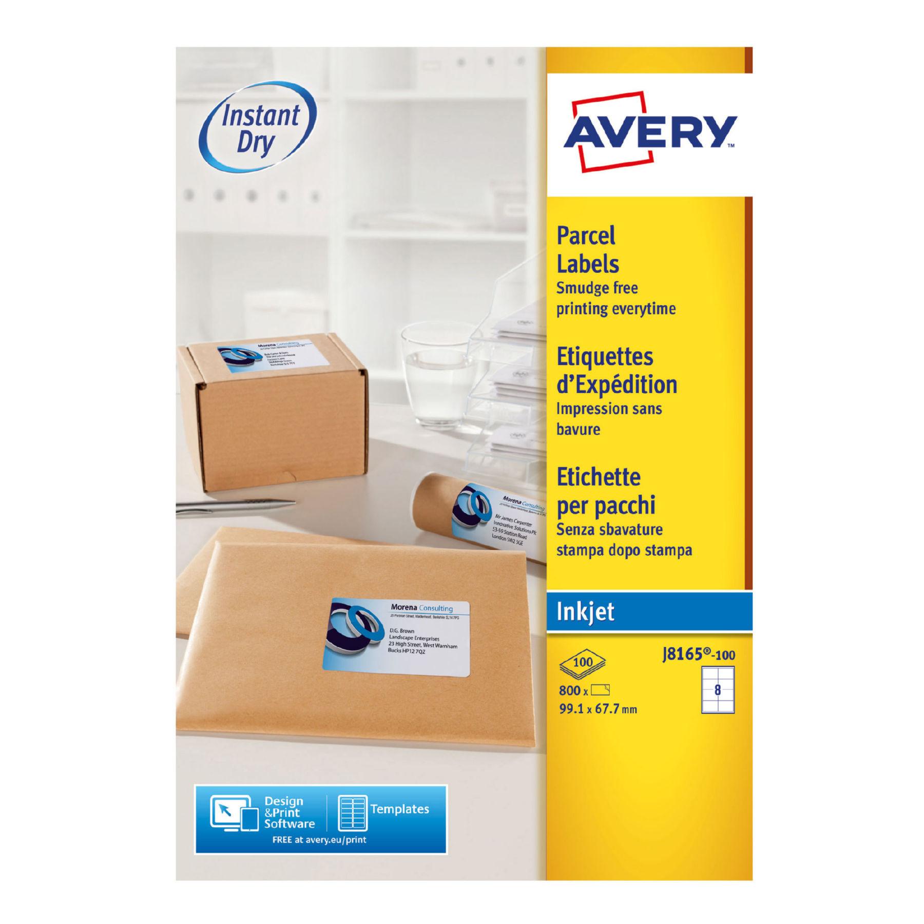 Avery Inkjet Addressing Labels 99x68mm J8165 100 800labels