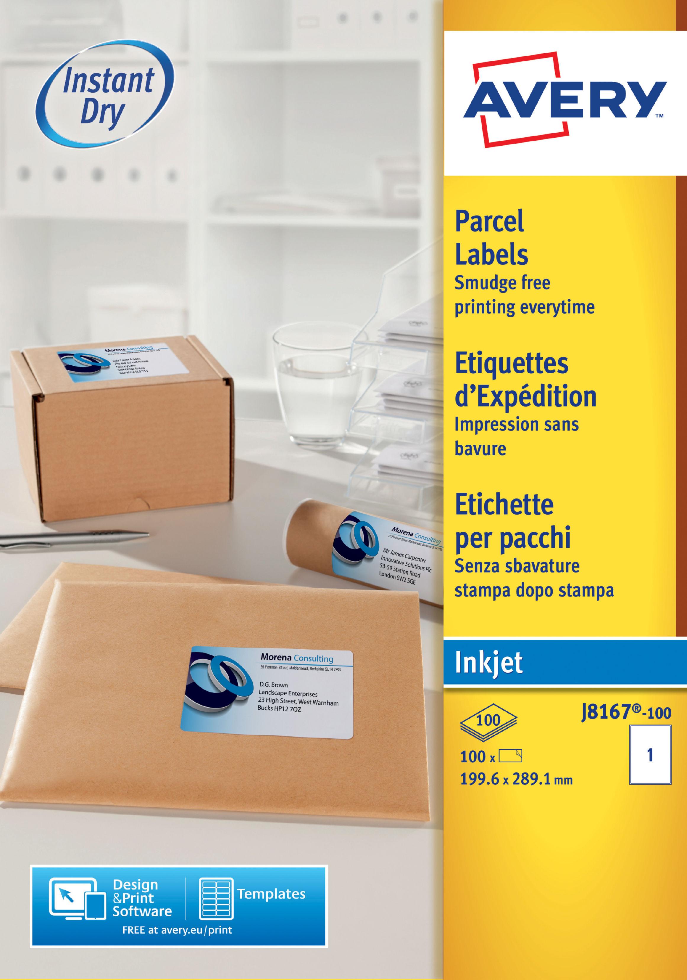 avery inkjet address labels 200x289mm j8167 100 100 labels