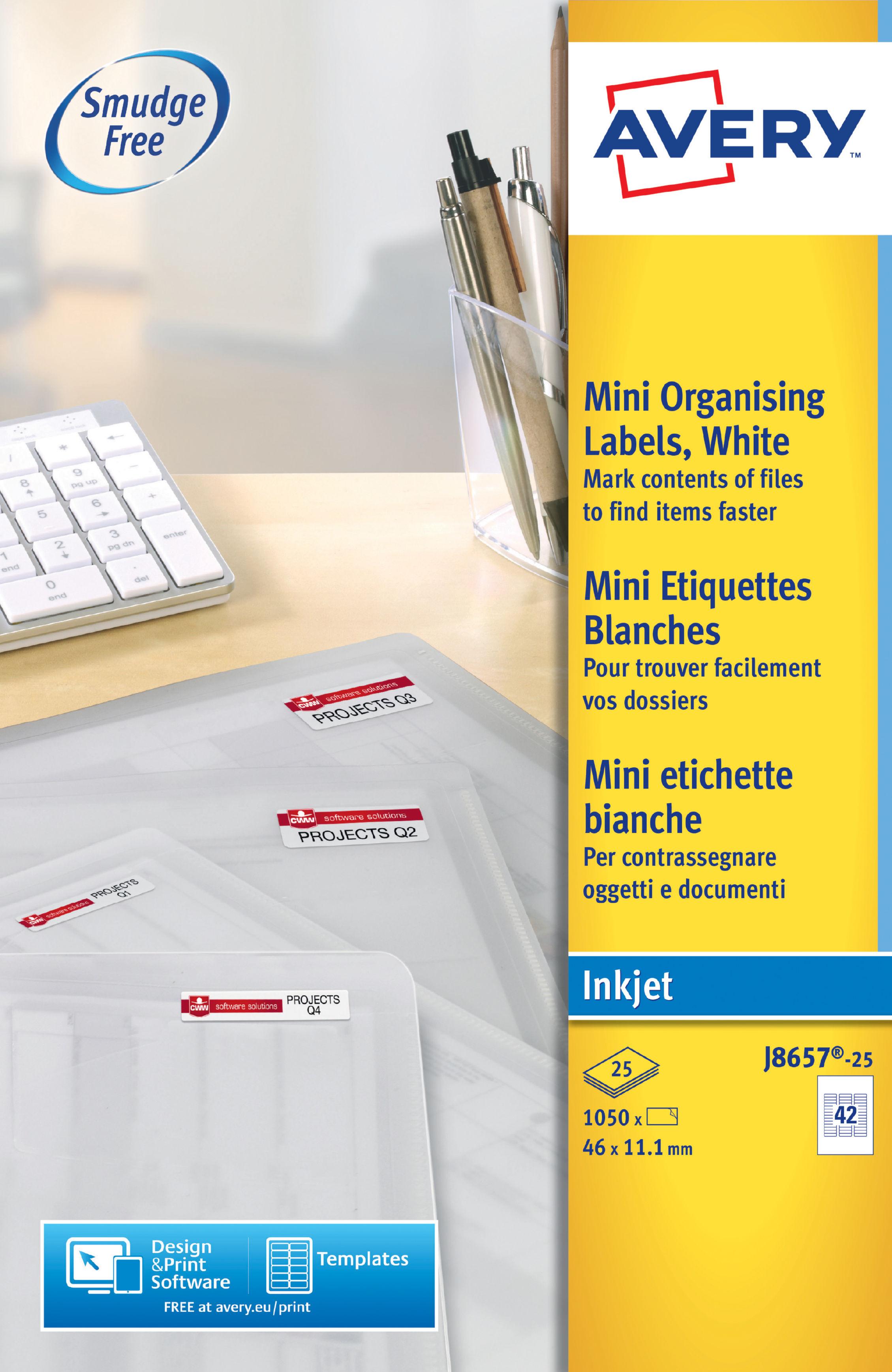 Avery White Mini Inkjet Labels 46x11mm J8657 25 1050labels