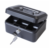 Value 20cm (8 Inch) Key Lock Metal Cash Box Black