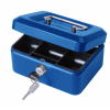 Value 20cm (8 Inch) key lock Metal Cash Box Blue