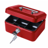Value 20cm (8 Inch) key lock Metal Cash Box Red