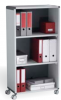 Fast Paper Mobile 3 Compartment Bookcase Grey/Charcoal DD